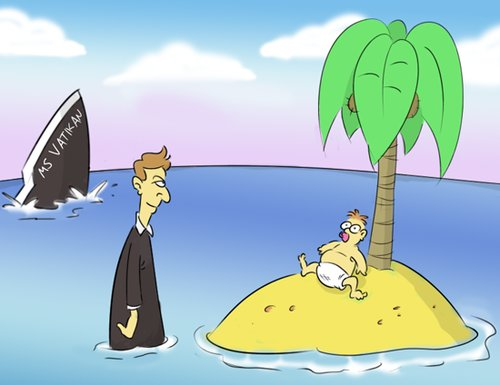 Cartoon: Glücklicher Zufall (medium) by Rob tagged church,kirche,vatikan,insel,island,palm,tree,palme,strand,pfarrer,priester,priest,boat,schiff,baby