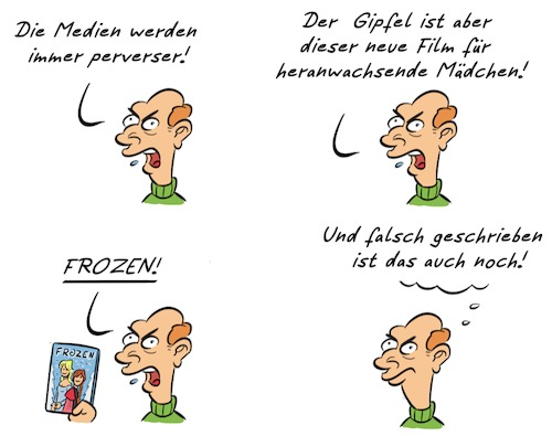 Cartoon: Kommentar Frozen (medium) by Rob tagged kommentar,kommentator,frozen,eiskönigin,disney,film,movie,schnee