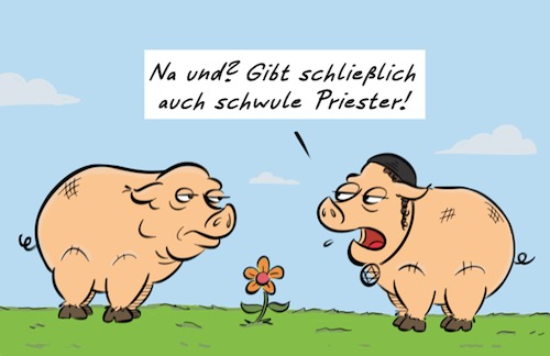 Cartoon: Schweinerei (medium) by Rob tagged schwein,schweine,pig,pigs,blume,flower,jude,juden,jew,jews,kippa
