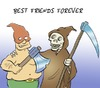 Cartoon: BFF (small) by Rob tagged death,tod,henker,executioner,sicle,sense,axt,axe,friend,friends