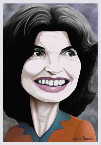Cartoon: Jackie Kennedy Onassis. (medium) by Maria Hamrin tagged caricature,america,reservoir,fashion,elegance,grace,icon,1960s
