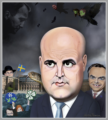 Cartoon: Swedish party leaders. (medium) by Maria Hamrin tagged 2014,helgeandsholmen,riksdagsvalet,statsminister,stockholm,sverige,karikatyr