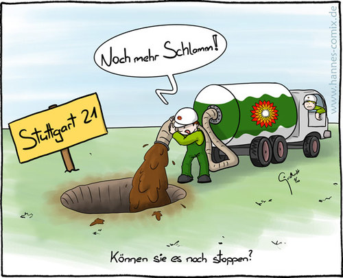 Cartoon: Stuttgart 21 (medium) by Hannes tagged stuttgart,21,bp,loch,static,kill,bohrloch,schlamm,tankwagen