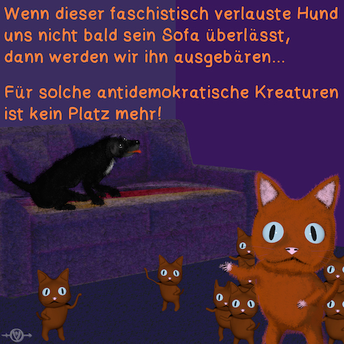 Cartoon: Cats and Dogs 1 (medium) by PuzzleVisions tagged puzzlevisions,katzen,cats,dogs,hunde,faschismus,türkei,turkey,deutschland,germany,erdogan,geburt,birth