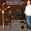 Cartoon: Caro und Karli 2 (small) by PuzzleVisions tagged puzzlevisions,karli,caro,friend,freundin,lucky,annie,hayir,nein,no,türkisch,turkey