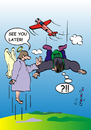 Cartoon: See you later (small) by Leopold tagged fallschirm,fallschirmspringer,engel,flugzeug,sprung,tod,himmel