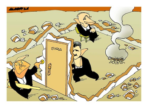 Cartoon: Doorbell (medium) by Amorim tagged syria,war,trump,putin,macron,theresamay,bacharelassad