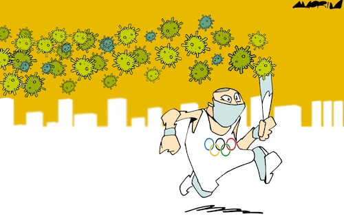 Cartoon: Tokyo 2020 Olympic Games (medium) by Amorim tagged tokyo,olympic,games,covid19