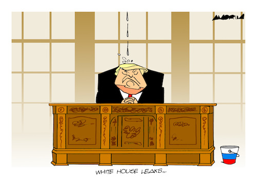 Cartoon: White House leaks (medium) by Amorim tagged trump,white,house,leaks