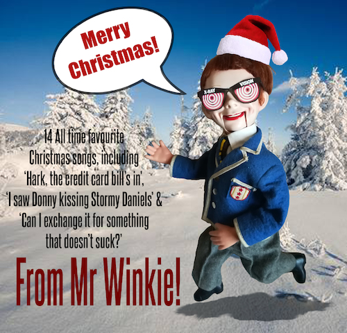 Cartoon: Mr Winkie Christmas CD (medium) by Ian Baker tagged ian,baker,mr,winkie,cd,cover,music,christmas,puppet,ventriloquist,snow