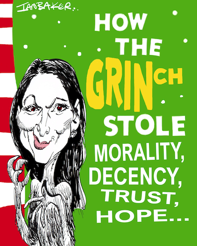 Cartoon: Priti Patel (medium) by Ian Baker tagged priti,patel,boris,johnson,conservatives,politics,uk,england,britain,brexit,dr,seuss,ian,baker,cartoon,caricature,satire,grinch,christmas