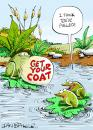 Cartoon: Greeting Card (small) by Ian Baker tagged frogs,dating,pull,pond,greeting,card,nature