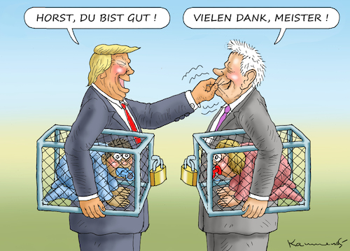 Cartoon: ABSCHIEBEGRUSEL-KUMPEL SEEHOFER (medium) by marian kamensky tagged obama,trump,präsidentenwahlen,usa,baba,vanga,republikaner,inauguration,demokraten,wikileaks,faschismus,jamal,khashoggi,very,black,hole,obama,trump,präsidentenwahlen,usa,baba,vanga,republikaner,inauguration,demokraten,wikileaks,faschismus,jamal,khashoggi,very,black,hole