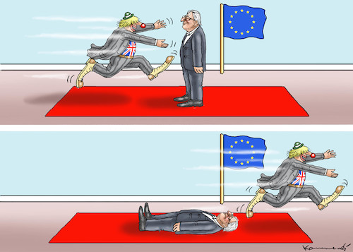 Cartoon: BORIS BESUCHT JUNCKER (medium) by marian kamensky tagged brexit,theresa,may,england,eu,schottland,weicher,wahlen,boris,johnson,nigel,farage,ostern,seidenstrasse,xi,jinping,referendum,trump,monsanto,bayer,glyphosa,strafzölle,juncker,brexit,theresa,may,england,eu,schottland,weicher,wahlen,boris,johnson,nigel,farage,ostern,seidenstrasse,xi,jinping,referendum,trump,monsanto,bayer,glyphosa,strafzölle,juncker