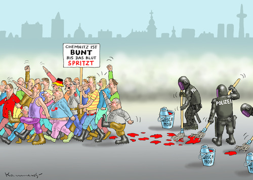 Cartoon: BUNTSPRITZIGES CHEMNITZT (medium) by marian kamensky tagged chemnitz,lynchjustiz,rchtsradikale,proteste,sachsen,chemnitz,lynchjustiz,rchtsradikale,proteste,sachsen