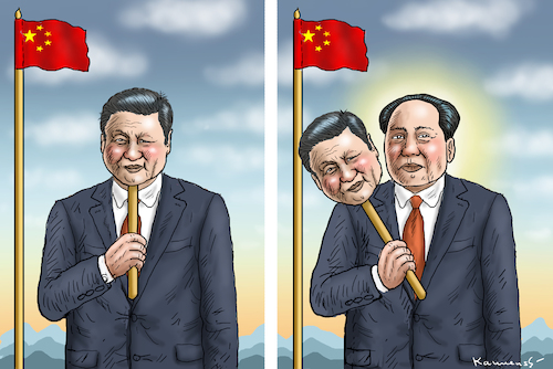 Cartoon: DER NEUE MAO TSE TUNG XXL-Xi (medium) by marian kamensky tagged xi,jingping,china,diltatur,nationalismus,xi,jingping,china,diltatur,nationalismus