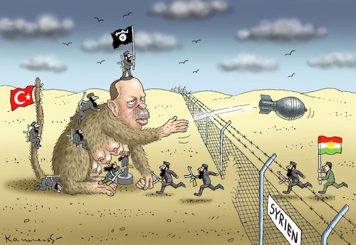 Cartoon: ERDOGANS INVASION GEGEN KURDEN (medium) by marian kamensky tagged erdogans,invasion,gegen,kurden,erdogans,invasion,gegen,kurden
