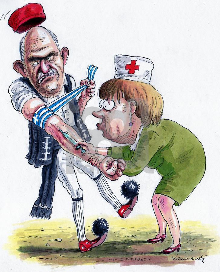 Cartoon: Merkel - Papandreu (large) by marian kamensky tagged humor,angela merkel,politikerin,karikatur,arzt,doktor,gesundheit,spritze,angela,merkel,papandreu