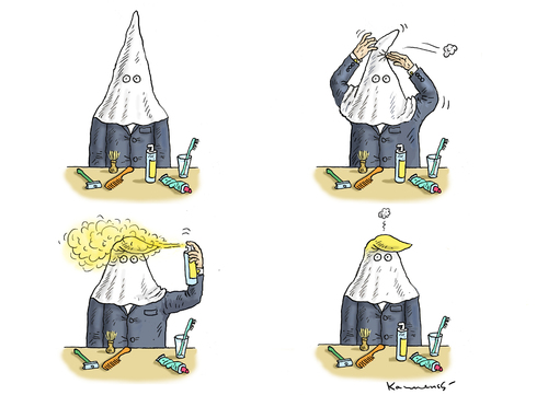 Cartoon: MORGENTOILETTE VON KKK TRUMP (medium) by marian kamensky tagged obama,trump,präsidentenwahlen,usa,baba,vanga,republikaner,demokraten,kkk,faschismus,obama,trump,präsidentenwahlen,usa,baba,vanga,republikaner,demokraten,kkk,faschismus