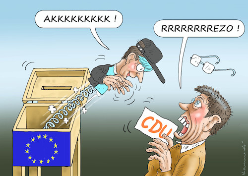 Cartoon: REZO VERSUS CDU (medium) by marian kamensky tagged brexit,theresa,may,england,eu,schottland,weicher,wahlen,boris,johnson,nigel,farage,ostern,seidenstrasse,xi,jinping,referendum,trump,monsanto,bayer,glyphosa,rezo,cdu,strafzölle,brexit,theresa,may,england,eu,schottland,weicher,wahlen,boris,johnson,nigel,farage,ostern,seidenstrasse,xi,jinping,referendum,trump,monsanto,bayer,glyphosa,rezo,cdu,strafzölle