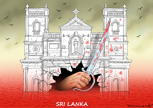 Cartoon: SRI LANKA (medium) by marian kamensky tagged terror,in,christchurch,new,zealand,islamophobie,racism,intollerance,trump,sri,lanka,terror,in,christchurch,new,zealand,islamophobie,racism,intollerance,trump,sri,lanka