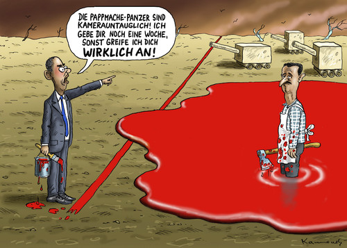 Cartoon: The show must go on (medium) by marian kamensky tagged assad,regime,syrien,bürgerkrieg,obamas,rote,linie,assad,regime,syrien,bürgerkrieg,obamas,rote,linie