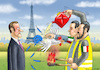 Cartoon: ITALIENS GELBWESTEN IN PARIS (small) by marian kamensky tagged macron,gibt,nach,gelbwesten,paris,proteste,rotschals