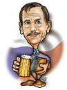 Cartoon: Vaclav Havel (small) by Krzyskow tagged karykatura