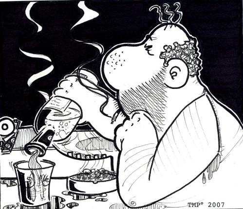 Cartoon: buck (medium) by buddybradley tagged bukowski,buck,drunk,caricature,black,and,white,illustration