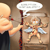 Cartoon: Cupidon - Target (small) by Mikl tagged mikl,michael,olivier,miklart,art,illustration,painting,cupidon,angel,target,bow,torture