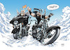 Cartoon: Teebo and Coyote in Heaven (small) by Mikl tagged michael,mikl,olivier,miklart,illustration,bikes,biker,heaven,paradise,beard,coyote,teebo,play,game,harley,davidson,streetglide,softail