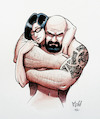 Cartoon: Us by me (small) by Mikl tagged michael,mikl,olivier,miklart,illustration,watercolor,love,couple,tattoo,us,me