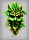 Cartoon: green man concept (small) by juwecurfew tagged green,man,tattoo,concept