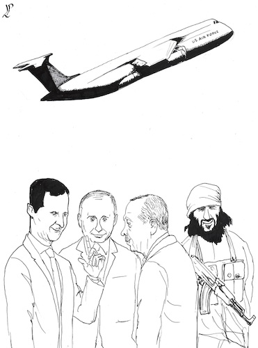Cartoon: US withdrawal from Syria (medium) by paolo lombardi tagged syria,turkey,usa,russia,isis