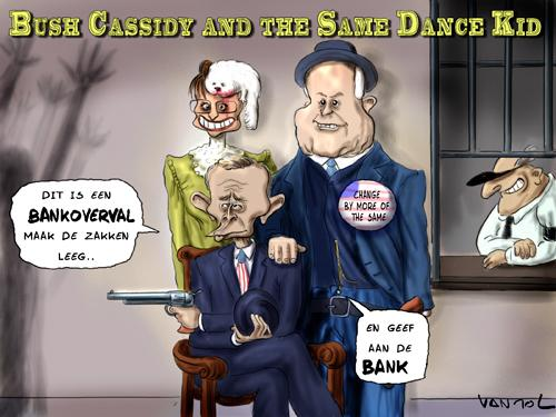 Cartoon: Bush Cassidy (medium) by Vanmol tagged bush,mccain,palin,wallstreet