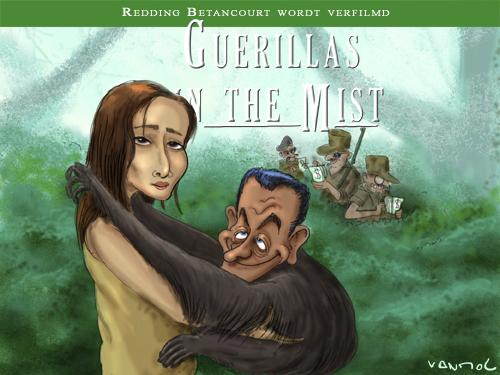 Cartoon: Guerillas in the mist (medium) by Vanmol tagged betancourt,columbia,farc,sarkozy