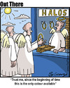Cartoon: Halo Sale (small) by George tagged halo,sale