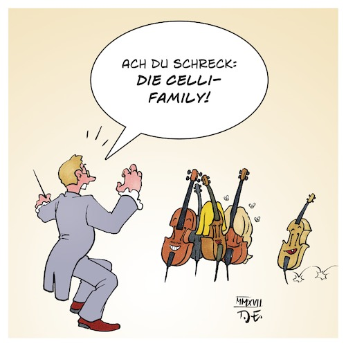 Cartoon: Celli Family (medium) by Timo Essner tagged kelly,family,cello,celli,familie,musiker,musik,instrumente,orchester,dirigent,popkultur,cartoon,timo,essner,kelly,family,cello,celli,familie,musiker,musik,instrumente,orchester,dirigent,popkultur,cartoon,timo,essner