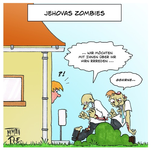 Cartoon: Jehovas Zombies (medium) by Timo Essner tagged jehova,zeugen,zombies,religion,hausieren,sekte