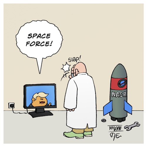 Cartoon: Space Force (medium) by Timo Essner tagged donald,trump,nasa,space,force,warts,lord,mueller,investigation,ablenkung,science,scientist,wissenschaft,wissenschaftler,fake,news,bullshit,cartoon,timo,essner,donald,trump,nasa,space,force,warts,lord,mueller,investigation,ablenkung,science,scientist,wissenschaft,wissenschaftler,fake,news,bullshit,cartoon,timo,essner
