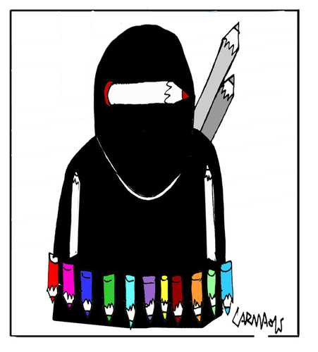 Cartoon: Fighting with pencils (medium) by Carma tagged terrorism,charlie,hebdo,cartoon,cartoonist,carma,islam,religion,fight,extremism,conflicts