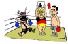 Cartoon: 1st Roound (small) by Carma tagged greece,tsipras,merkel,eu,austerity