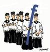 Cartoon: Procession (small) by Carma tagged facebook,religion,media,technology