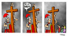 Cartoon: Stretching (small) by Carma tagged jesus,christ,the,passion,religion,stretching