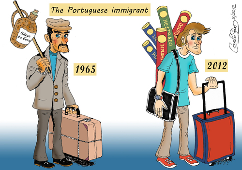 Cartoon: The Portuguese Immigrant (medium) by carloseco tagged immigration,portugal