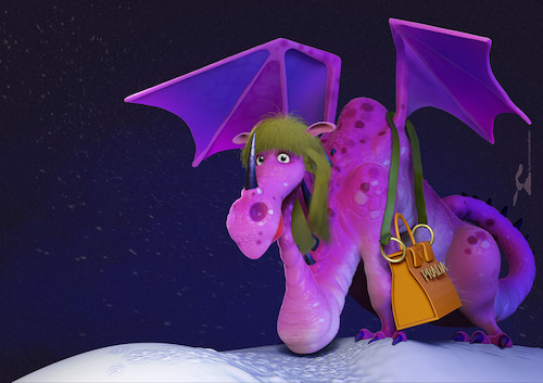 Cartoon: Dragonlady (medium) by Rüsselhase tagged dragon,lady,woman,pink,prada