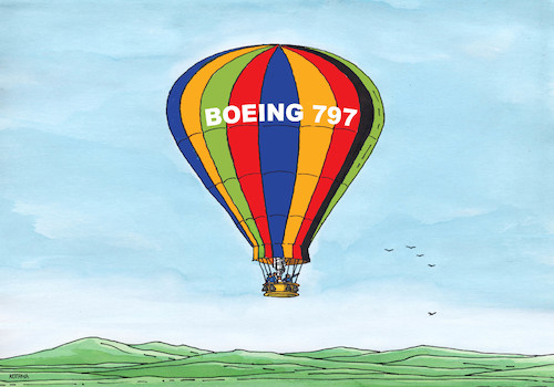 Cartoon: boeing797 (medium) by kotrha tagged earth,climate,changes,warming,melting,glaciers