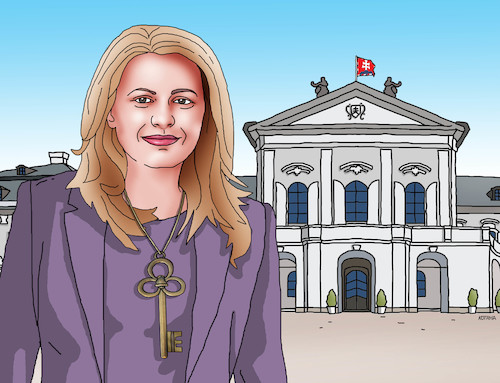 Cartoon: caputkluc (medium) by kotrha tagged zuzana,caputova,new,slovak,president
