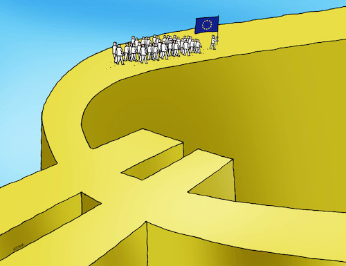 Cartoon: eudokopca (medium) by kotrha tagged euro,europe,union,money,dollar,world