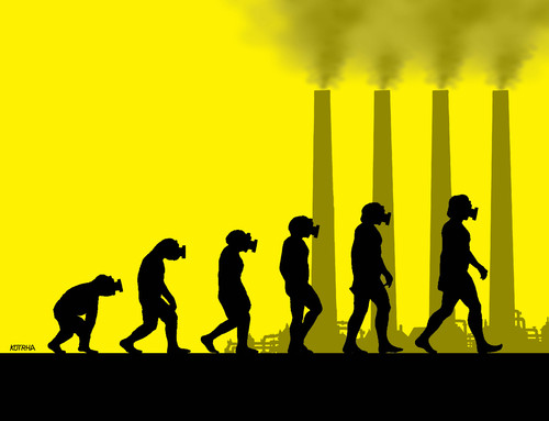 Cartoon: evolclimate (medium) by kotrha tagged climate,summit,paris,co2,smog,world